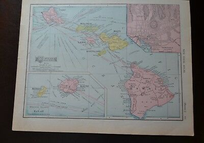 "1910 Map of Hawaii & Luzon Island by Rand McNally & Co.11""x 14"""