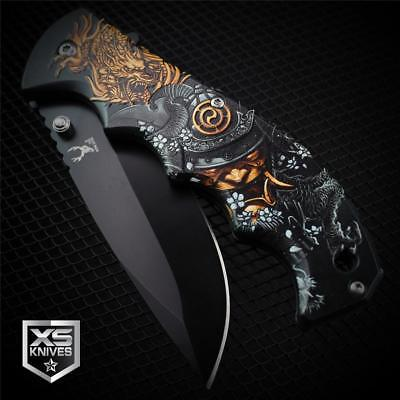 BLACK Demon SAMURAI DRAGON SLAYER Spring Assisted Pocket Knife 3D GRAPHICS