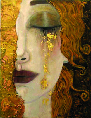 Woman Golden Tears - HD Painted Gustav Klimt Oil Painting On Canvas 14''x 18''
