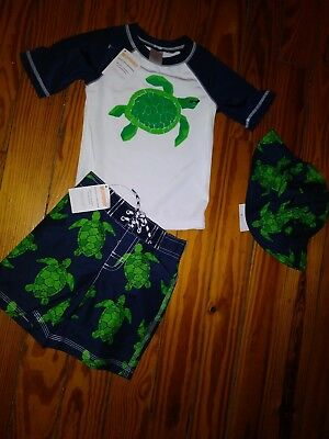 NWT Gymboree Toddler Boys Swim Set Rash Guard Shorts Hat Turtle Size 2T Lot of 3