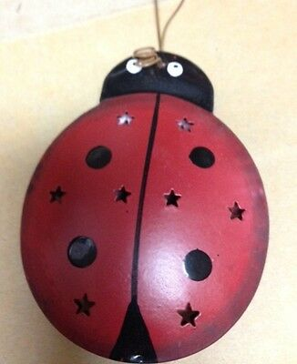 """2 1/4x3"""" Tin LADY BUG  Metal Punched Painted Both Sides HANGING Ornament SIGN"""
