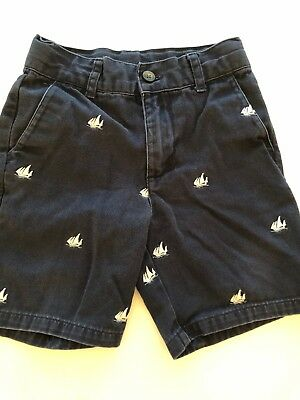 Janie And Jack Toddler Boys Navy Blue Shorts With Embroidered Sailboats-Size 2T