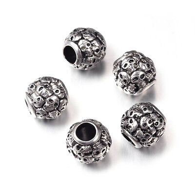 5pcs Antiqued 304 Stainless Steel Skull European Beads Large Hole Charms 12x12mm
