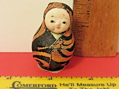 Vintage/Antique? Miniature Composition Face Oriental Small Doll Nesting Shape