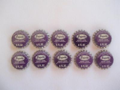 LOT OF 10 VINTAGE 1960's  UNUSED GRAPETTE GRAPE SODA POP BOTTLE CAPS CORK LINED