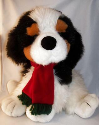 Large Sitting Bernese Mountain Dog Puppy Stuffed Toy Adorned With Fringed Scarf