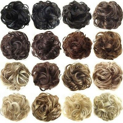 Real Natural Curly Messy Bun Hair Piece Scrunchie Hair Extensions as Human Gift