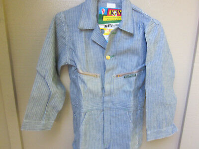 Vintage Key Overalls Railroad Stripe - NOS - Child Sz 10