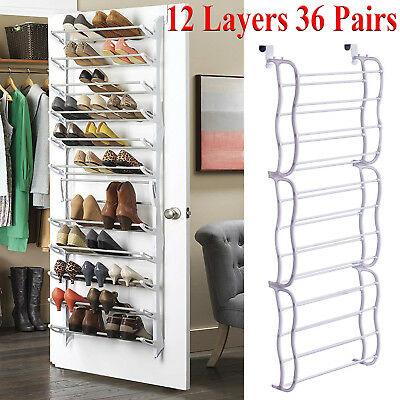 Over The Door Shoe Rack 36 Pairs Wall Hanging Closet Organizer Storage  Stand PCC
