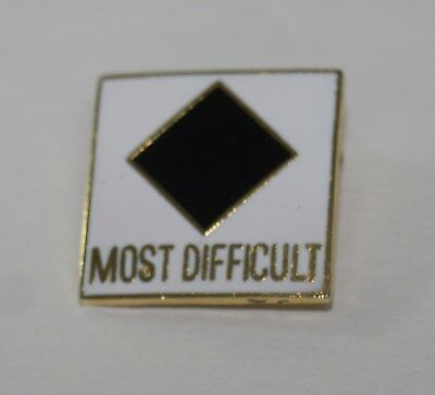 MOST DIFFICULT Pin Ski Skiing Funny Joke Winter Sports White Award Nerd HIPSTER