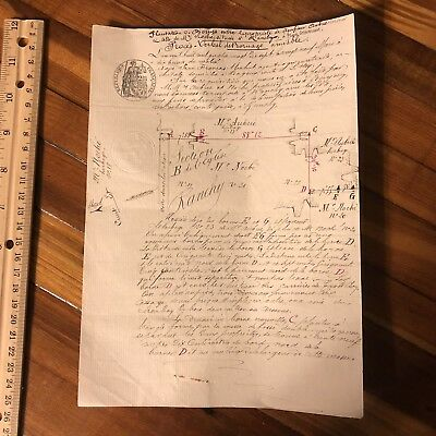 Rare Letter From The 1800's Original Paper Document Manuscript Antique Old Map