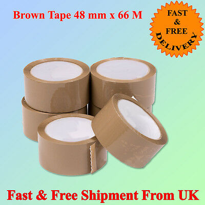 "12 ROLLS OF BROWN TAPES 48mm x 66m 2"" GOOD QUALITY Parcel Pack Strong  CHEAPEST"