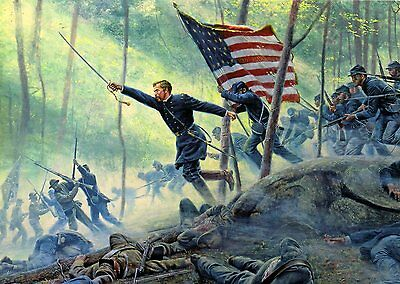 "Mort Kunstler Civil War ""Chamberlain's Charge"" Little Round Top 5x7 PC"