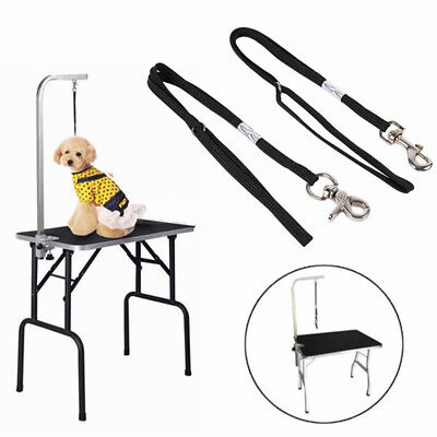 UK_ Adjustable Dog Cat Pet Grooming Table Arm Bath Restraint Rope Harness Noose