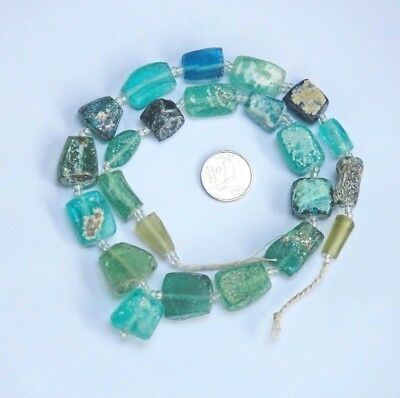 Ancient  Old Roman Glass Beads Square Mixed Size 23 pcs for Necklace