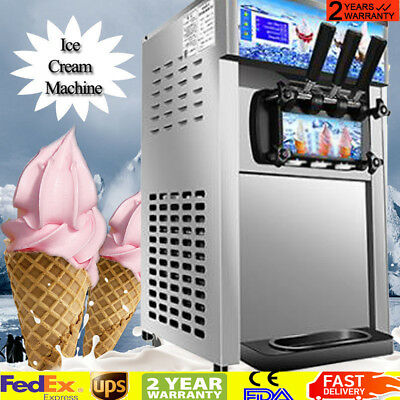 【USA】 Soft Serve Ice Cream Machine 3-Flavor Frozen Yogurt Machine Easy Move