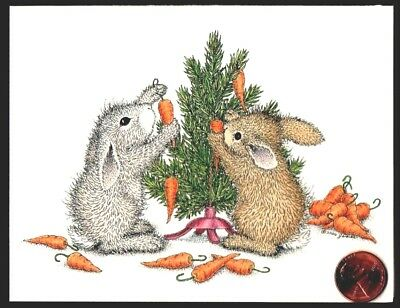 Christmas House Mouse Bunny Rabbits Carrots Christmas Blank Greeting Note Card