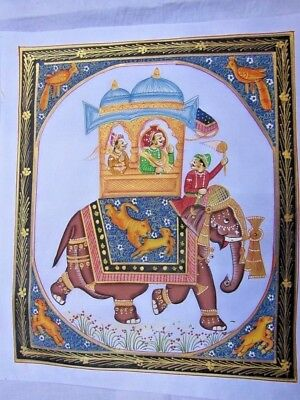 Ethnic Handmade Painted Indian Mughal, Mogul Elephant Vintage Painting On Silk.