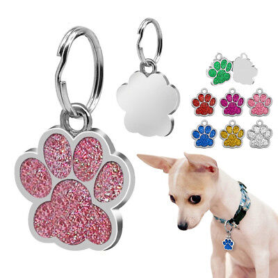 UK_ Glitter Paw Print Pet ID Tags Custom Engraved Puppy Dog Cat Tag Personalized