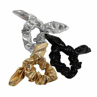 Faux Leather Bow Hair Ropes Ties Girls Women Elastic Ponytail Holder Scrunchie