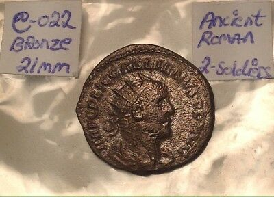 Ancient Roman Bronze 21mm Two Soldiers Standing 3rd-4th Century Nice Shape