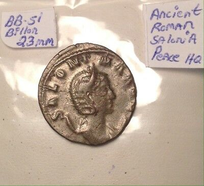 Ancient Roman Silver 23mm Solonia 2nd-3rd Century Lady Peace With Staff