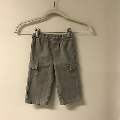 Janie And Jack Baby Boy 6-12 Months Flannel Cargo Pants With Train Gray Layette