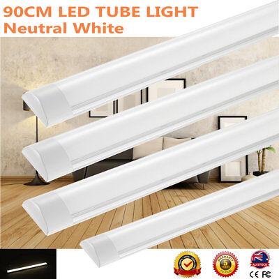 4X 30W Slim Linear LED Fluro Fluorescent batten light tube 90cm Replace T8 Tube