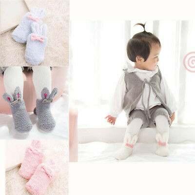 2018 cute girl bunny baby socks coral velvet thick three-dimensional winter