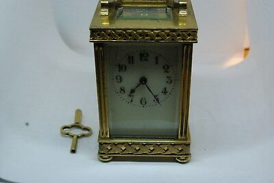 19th Century French Brass Carriage / Mantle Clock. Full Working Order