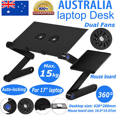 360° Foldable Laptop Desk Table Stand Holder w/ Cooling 2 Fan Mouse Boad 260mm