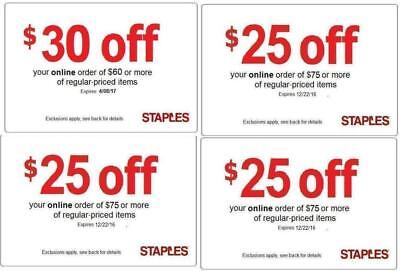4 (COUPONS) 🌟 1X Staples $30 off $60 & (3X) $25 off 75 online/phone 🌟EXP==3/24