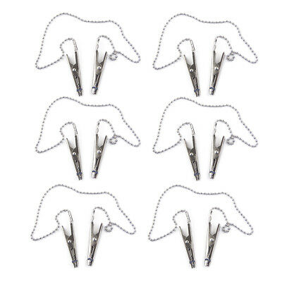 6Pcs Dental Stainless Bib Clips Napkin Holder Flexible Ball Chain 42cm Dentist