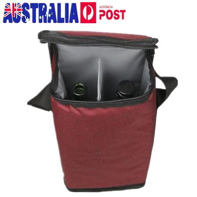Double Bottle Drink/Wine/Beer Cooler Insulated Neoprene Tote Bag Carrier Gift AU