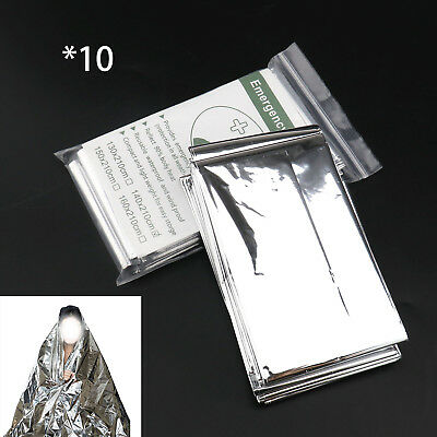 10pcs Portable Waterproof Camping Foil Thermal Emergency Rescue Blanket Set