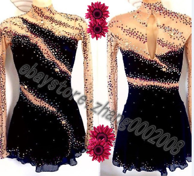 Stylish figure skating dress.Black competition dance Twirling skating costume