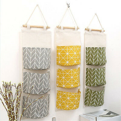 3 Grids Wall Hanging Storage Bag Organizer Toys Container Decor Pocket Pouch CHG