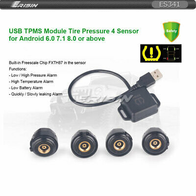 USB TPMS Module Tire Pressure 4 Sensors For Android 6.0/7.1/8.0/8.1 Units Stereo