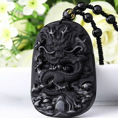 Jewelry Natural Blessing Lucky Black Dragon Pendant Carving Necklace Obsidian