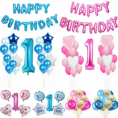 Baby Boy Girl First 1st Birthday Foil Latex Confetti Balloons Pink Blue Party