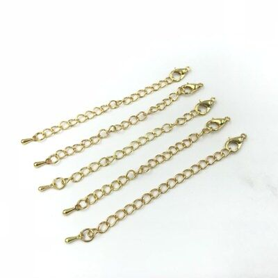 NEW 10pcs 70mm Necklace Extension Chain with Lobster Clasps Droplets Jewelry