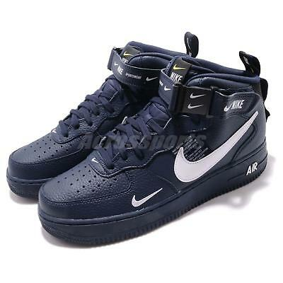 watch 469fd a0df0 Nike Air Force 1 MID 07 LV8 AF1 Navy Obsidian White Men Shoes Sneaker  804609-