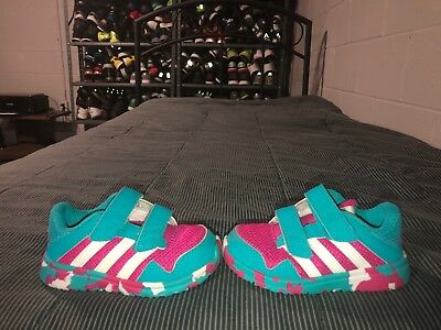 Adidas Snice 4 CF Girls Baby Toddler Athletic Shoes Size 7K Pink Blue White