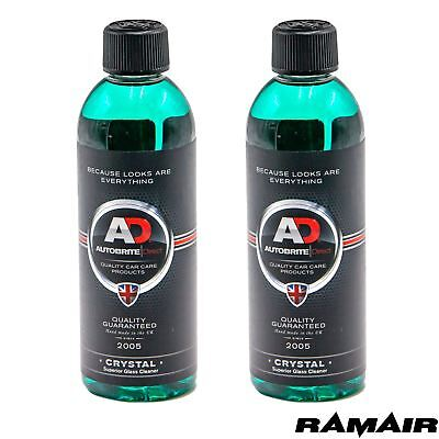2 x 500ml Autobrite Crystal Glass Cleaner Streak Free Professional Car Care