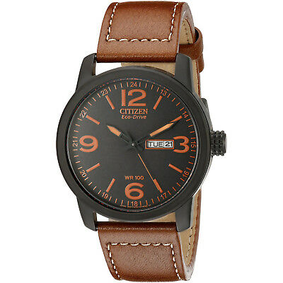 CITIZEN BM8475-26E Eco-Drive Brown Leather Strap Stainless Steel Military Watch