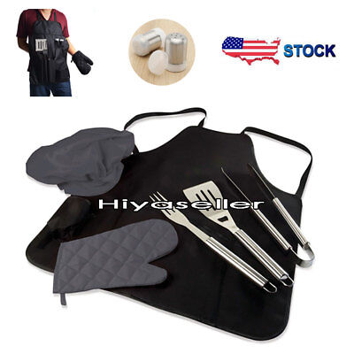7PCS BBQ Tools Grill Set Stainless Steel Cooking Kit Utensil + Apron Storage #NT