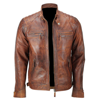 Mens Quilted Brown Cafe Racer Biker Vintage Motorcycle Distressed Leather Jacket