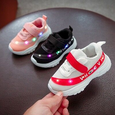 Baby Boys Girls LED Light up Lace Up Luminous Sneakers Kids Casual Sports Shoes