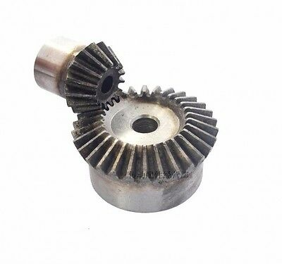 2Pcs Set 3.0 Mod 1:2 (15T + 30T) Bevel Gear 90 ° Pairing Metal Bevel Gear
