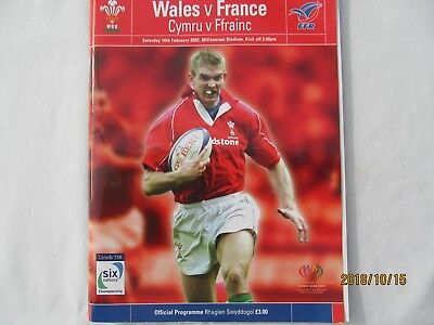 Wales v France.  Rugby Union Programme + Event Tickets. 2002